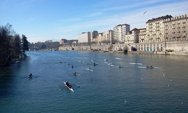 Rowing on the Po river in Torino